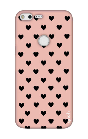 Black Hearts On Pink Google Pixel XL Cases & Covers Online