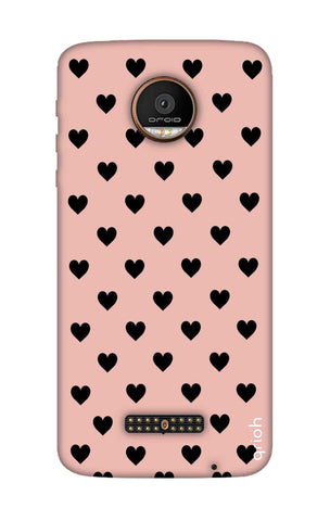 Black Hearts On Pink Motorala Moto Z Force Cases & Covers Online