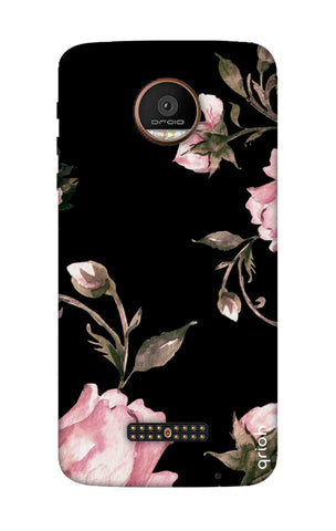 Pink Roses On Black Motorala Moto Z Force Cases & Covers Online