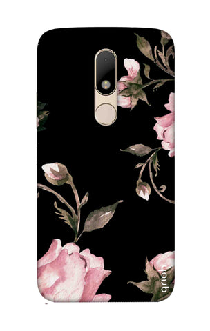 Pink Roses On Black Motorala Moto M Cases & Covers Online