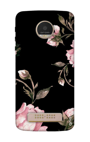 Pink Roses On Black Motorala Moto Z Play Cases & Covers Online
