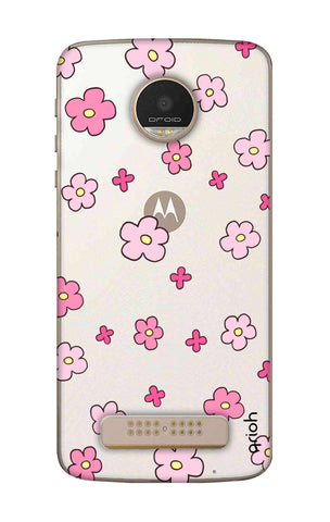 Pink Flowers All Over Motorala Moto Z Play Cases & Covers Online