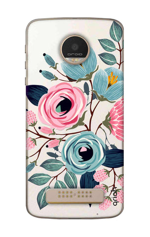 Pink And Blue Floral Motorala Moto Z Play Cases & Covers Online