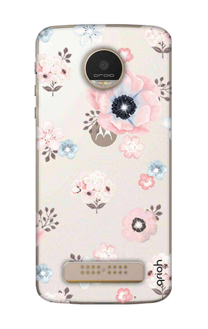 Beautiful White Floral Motorala Moto Z Play Cases & Covers Online