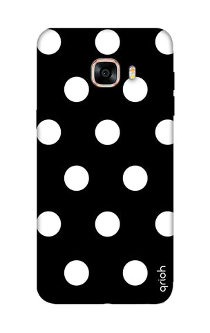 White Polka On Black Samsung C5 Cases & Covers Online