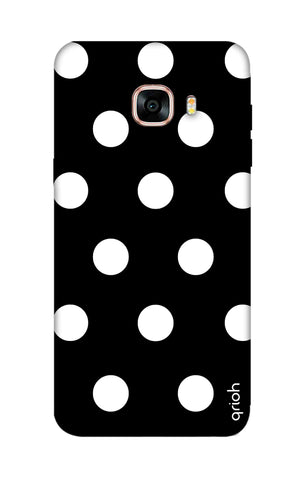 White Polka On Black Samsung C7 Cases & Covers Online
