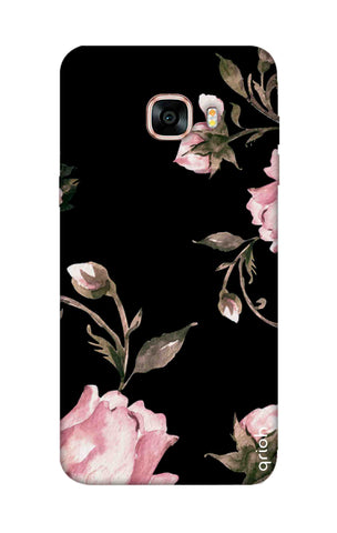 Pink Roses On Black Samsung C7 Cases & Covers Online