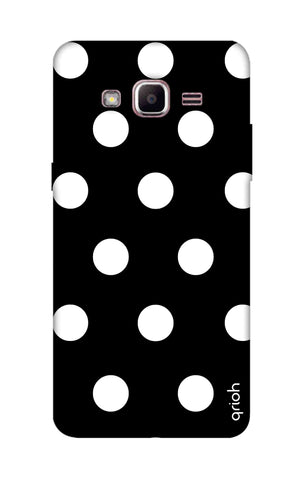 White Polka On Black Samsung J2 Prime Cases & Covers Online