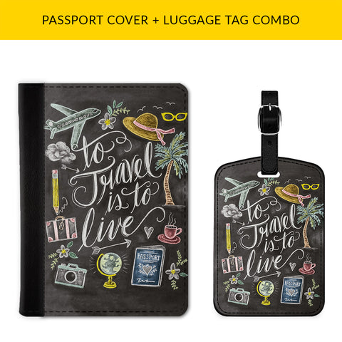 Travel Doodle Passport & Luggage Tag Combo
