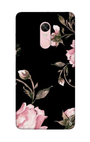 Pink Roses On Black Xiaomi RedMi Note 4X Cases & Covers Online