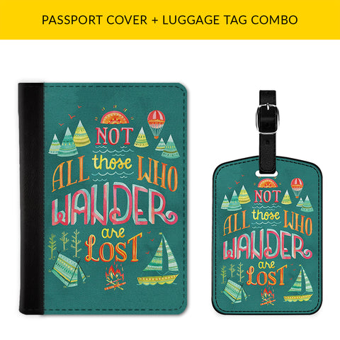 Not All Who Wander are Lost Passport & Luggage Tag Combo