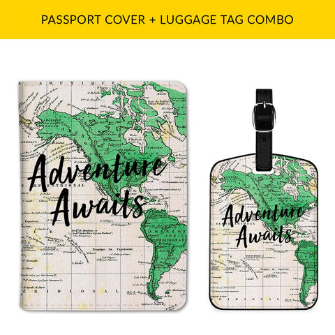 Adventure Awaits Passport & Luggage Tag Combo