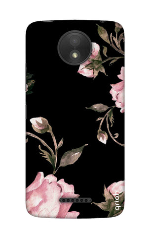 Pink Roses On Black Motorola Moto C Cases & Covers Online
