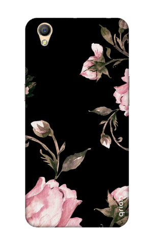 Pink Roses On Black Oppo A37 Cases & Covers Online