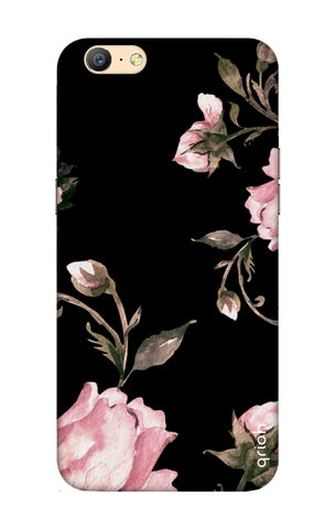 Pink Roses On Black Oppo A57 Cases & Covers Online