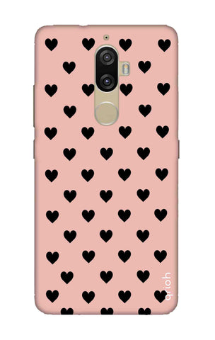 Black Hearts On Pink Lenovo K8 Plus Cases & Covers Online