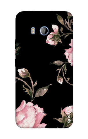 Pink Roses On Black HTC U11 Cases & Covers Online