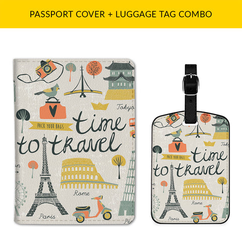 Time to Travel Passport & Luggage Tag Combo