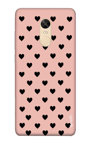 Black Hearts On Pink Xiaomi Redmi 5 Plus Cases & Covers Online