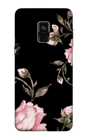 Pink Roses On Black Samsung A8 2018 Cases & Covers Online