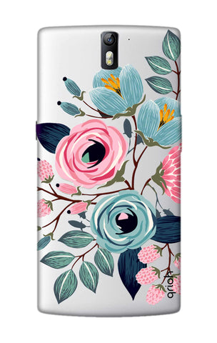 Pink And Blue Floral OnePlus One Cases & Covers Online