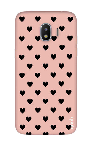 Black Hearts On Pink Samsung J2 Pro 2018 Cases & Covers Online