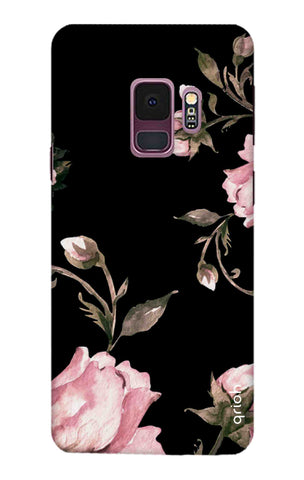 Pink Roses On Black Samsung S9 Cases & Covers Online