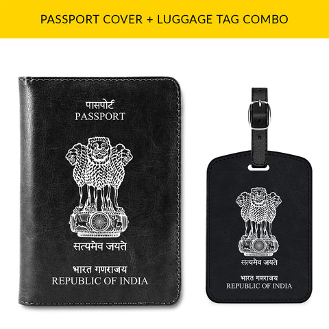 Indian Passport & Luggage Tag Combo