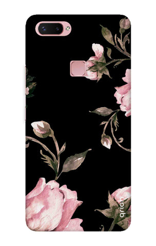Pink Roses On Black Vivo X20 Plus Cases & Covers Online