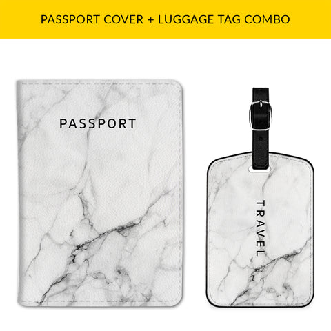 White Marble Passport & Luggage Tag Combo