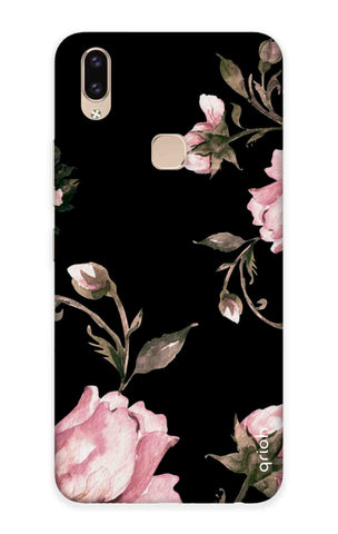 Pink Roses On Black Vivo V9 Youth Cases & Covers Online