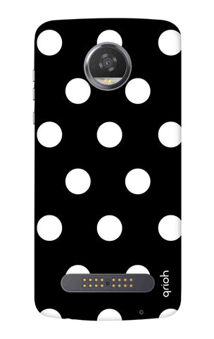 White Polka On Black Motorola Moto Z3 Play Cases & Covers Online