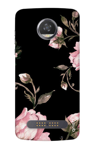 Pink Roses On Black Motorola Moto Z3 Play Cases & Covers Online