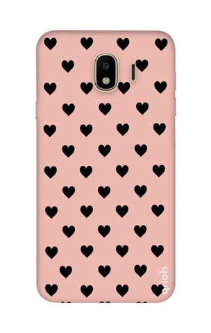 Black Hearts On Pink Samsung J4 Cases & Covers Online