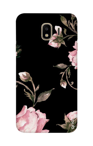 Pink Roses On Black Samsung J4 Cases & Covers Online