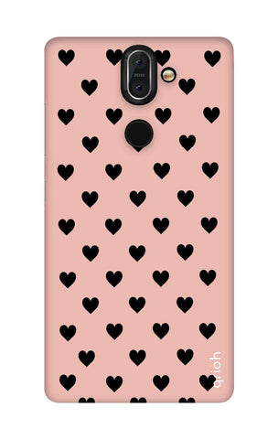 Black Hearts On Pink Nokia 8 Sirocco Cases & Covers Online
