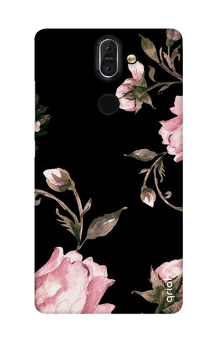 Pink Roses On Black Nokia 8 Sirocco Cases & Covers Online