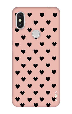 Black Hearts On Pink Xiaomi Redmi S2 Cases & Covers Online