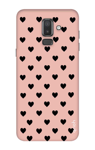 Black Hearts On Pink Samsung J8 Cases & Covers Online