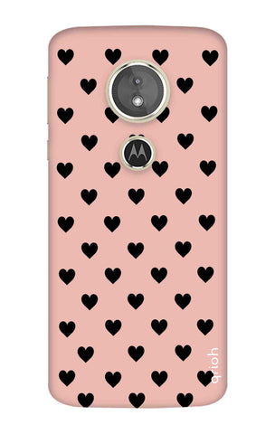 Black Hearts On Pink Motorola Moto E5 Cases & Covers Online