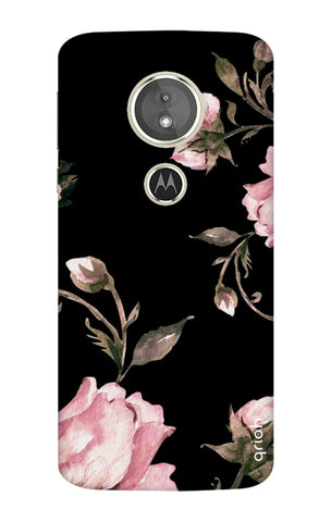 Pink Roses On Black Motorola Moto E5 Cases & Covers Online