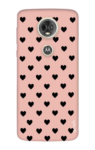 Black Hearts On Pink Motorola Moto E5 Plus Cases & Covers Online