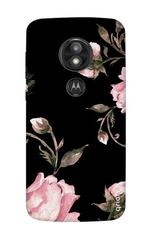 Pink Roses On Black Motorola Moto E5 Play Cases & Covers Online