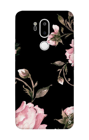Pink Roses On Black LG G7 ThinQ Cases & Covers Online
