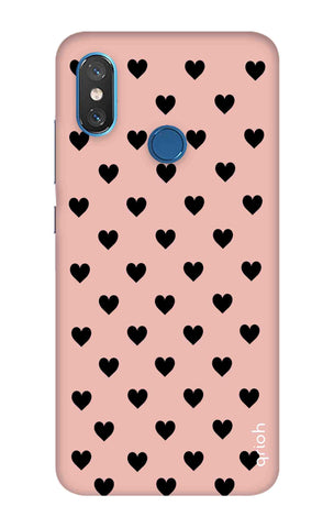 Black Hearts On Pink Xiaomi Mi 8 Cases & Covers Online