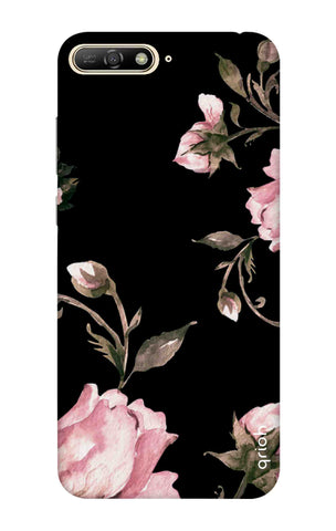Pink Roses On Black Huawei Y6 2018 Cases & Covers Online