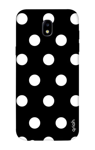 White Polka On Black Samsung J7 2018 Cases & Covers Online