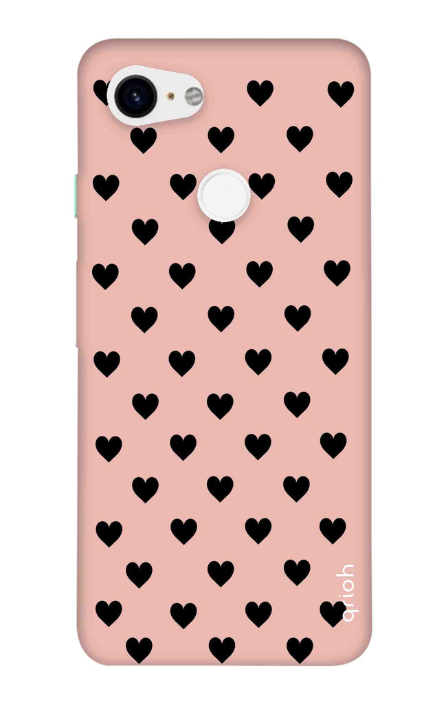 the latest 9cd92 d0c8c Black Hearts On Pink Case for Google Pixel 3