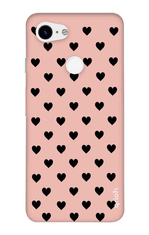 Black Hearts On Pink Google Pixel 3 XL Cases & Covers Online