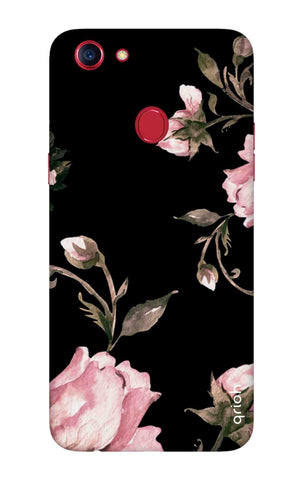 Pink Roses On Black Oppo F7 Youth Cases & Covers Online